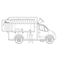 black and white delivery truck side view menu vector image