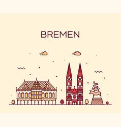 bremen skyline germany city linear style vector image