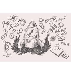 Business Idea start up concept doodles icons set vector