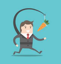 Businessman chasing carrot vector