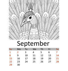 Calendar september month 2019 antistress coloring vector
