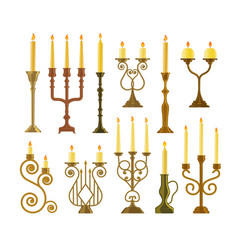 candelabrum or candlestick with burning candle set vector image