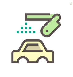 Car body paint work and robot icon design 48x48 vector