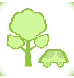 Car near a tree icon vector