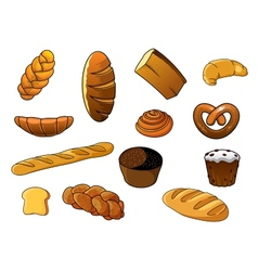 Cartoon different kinds of bread and pastries vector