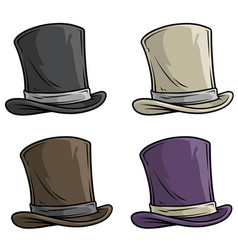 cartoon old gentleman top hat icon set vector image