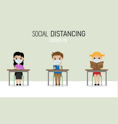 Children at school with social distance vector