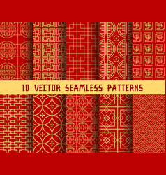 Chinese red golden asian oriental patterns vector