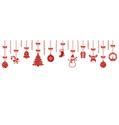 christmas hanging ornaments background vector image