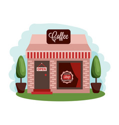 coffee shop building central cafe building vector image