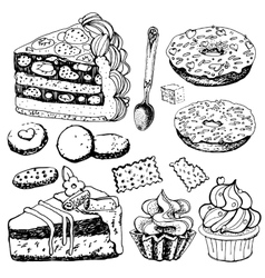 Collection of Hand Drawn Bakery Goods vector