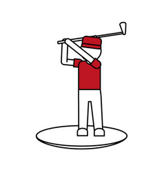 Color silhouette cartoon faceless full body golfer vector