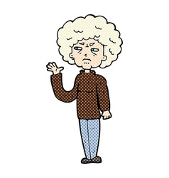Comic cartoon annoyed old woman waving vector