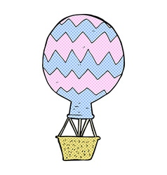 Comic cartoon hot air balloon vector