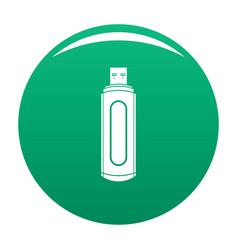 Computer flash drive icon green vector