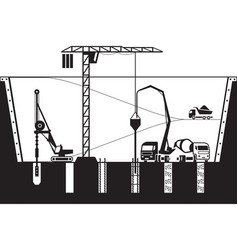 construction of foundations of a building vector image