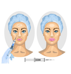 Cosmetic procedure woman before and after vector