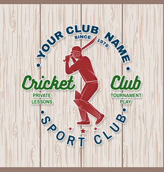 Cricket club patch or sticker concept for vector