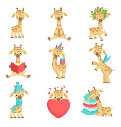 Cute little giraffe set funny jungle animal vector