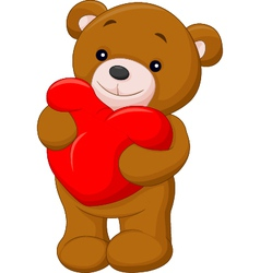 Cute teddy bear holding heart vector