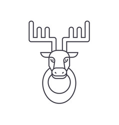 Deer head line icon sign on vector