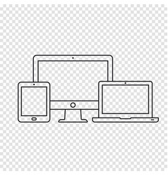 devices line icons vector image