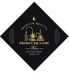 Diamond shaped wine label with production wine vector