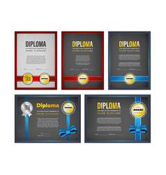 Diploma certificate design set vector