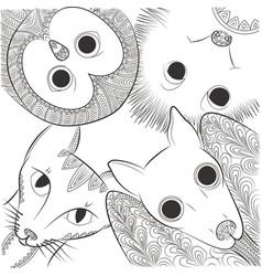 doodle bat cat owl and hedgehog head night vector image