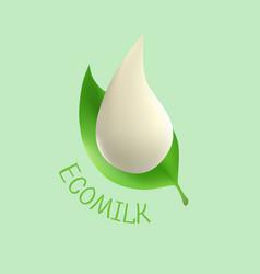 eco milk logo drop white milk on fresh vector image