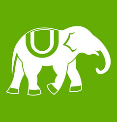 Elephant icon green vector