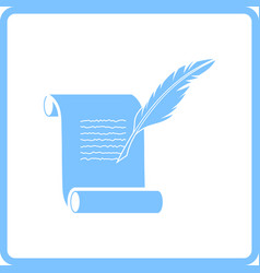 Feather and scroll icon vector
