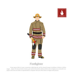 Firefighter with an axe on white background vector