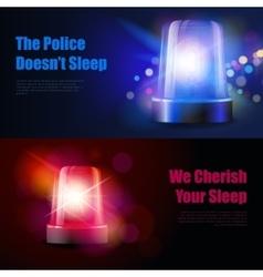 Flasher Siren Light Effect Banners vector