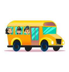 flat school bus school kids riding a vector image