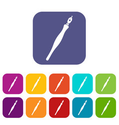 Fountain pen icons set flat vector