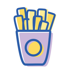 Fries french fast food icon vector