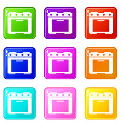 Gas stove icons 9 set vector