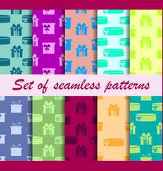 gift boxes set of seamless patterns vector image