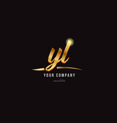 gold alphabet letter yl y l logo combination icon vector image
