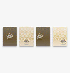 gold cover design with geometric halftone lines vector image