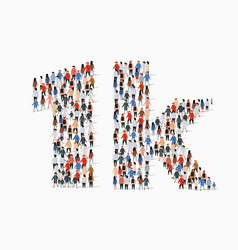 group people in form 1k sign one thousand vector image