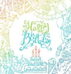Hand-drawn Happy Birthday square background vector image