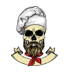 Hand drawn sketch color skull vector
