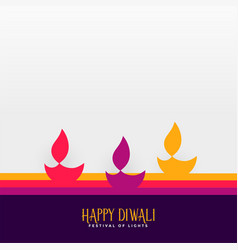 happy diwali hindu festival diya background vector image