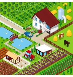 isometric rural farm agricultural field vector image