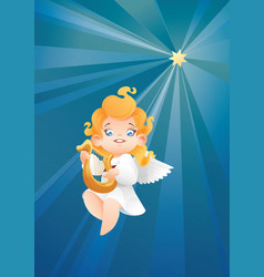 kid angel musician harpist flying on a night sky vector image