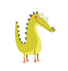 little amusing and funny cheerful crocodile vector image