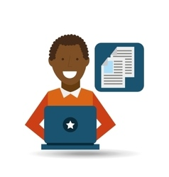 man afroamerican using laptop document media icon vector image