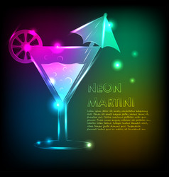 martini glass with a bright background and a neon vector image